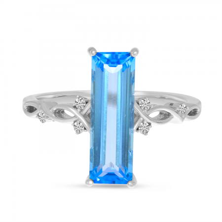 14K White Gold Long Blue Topaz Semi Baguette Ring