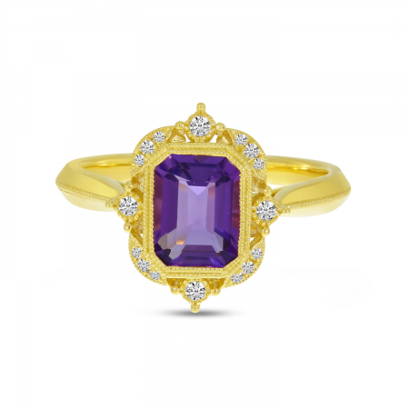 14K Yellow Gold Emerald Cut Amethyst Semi Millgrain Halo Ring