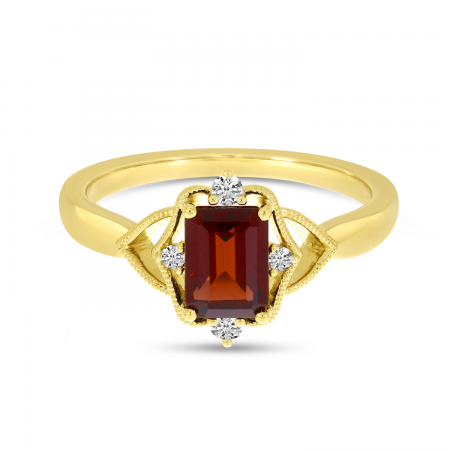 14K Yellow Gold Garnet Semi Emerald-Cut Millgrain Halo Ring