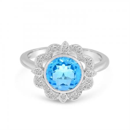 14K White Gold Round Blue Topaz Millgrain Diamond Ring