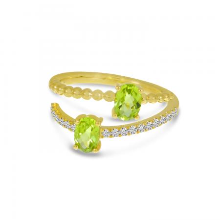 14K Yellow Gold Oval Peridot Bypass Princess Cut Duo Ring
