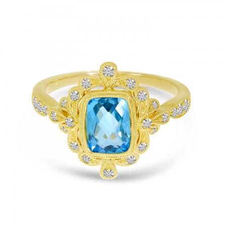 14K Yellow Gold Blue Topaz Cushion Ornate Diamond Millgrain Ring
