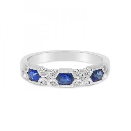 14K White Gold Hexagon Sapphire & Diamond Millgrain Ring