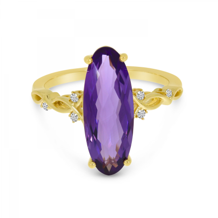 14K Yellow Gold Amethyst North 2 South Elongated Oval Ring