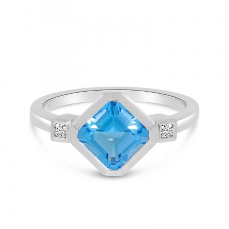 14K White Gold Octagon Blue Topaz Ring