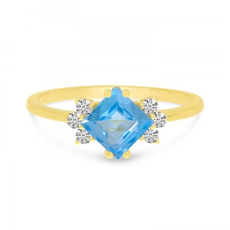 14K Yellow Gold Blue Topaz Princess Cut & Diamond Ring