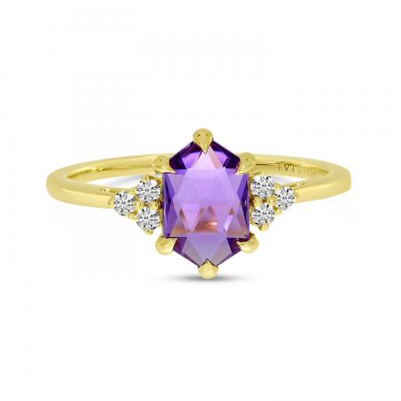 14K Yellow Gold Hexagon Amethyst & Diamond Ring