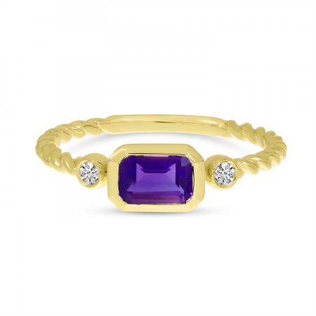 14K Yellow Gold Amethyst Semi Octagon Twist Band Ring