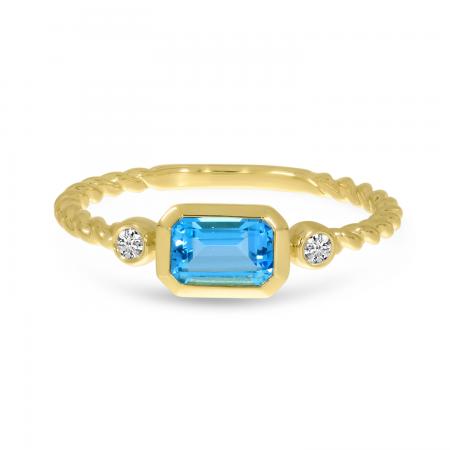 14K Yellow Gold Blue Topaz Semi Octagon Twist Band Ring
