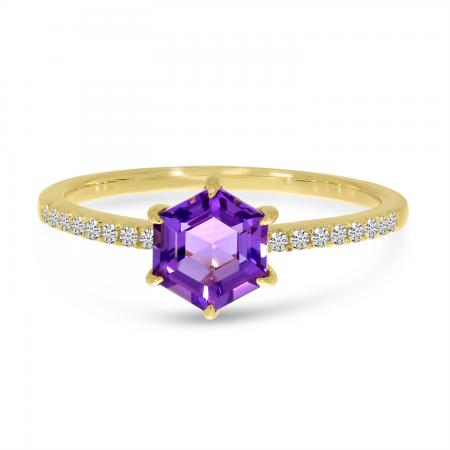 14K Yellow Gold Amethyst Semi Hexagon Diamond Band Ring