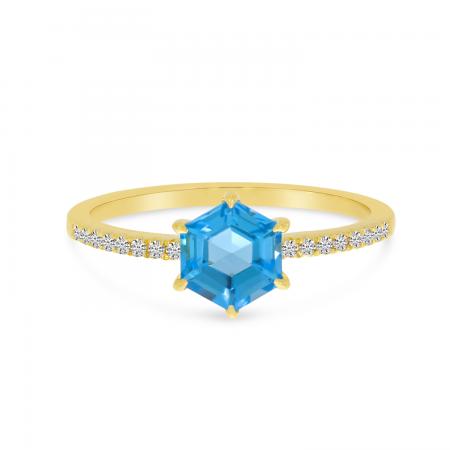 14K Yellow Gold Blue Topaz Semi Hexagon Diamond Band Ring