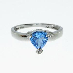 14K White Gold Trillion Blue Topaz and Diamond Semi Precious Ring