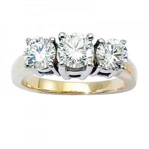 14K Yellow Gold Three Stone 2 Ct Round Diamond Ring
