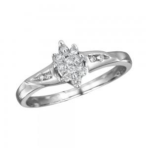 14K White Gold Light Weight Cluster Diamond Ring