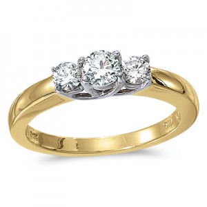 14k Yellow Gold 0.25 Ct Three Stone Trellis Diamond Ring