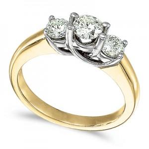 14k Yellow Gold 0.75 Ct Three Stone Trellis Diamond Ring