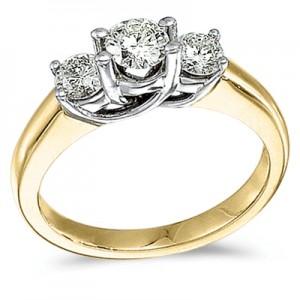 14k Yellow Gold 1.00 Ct Three Stone Trellis Diamond Ring