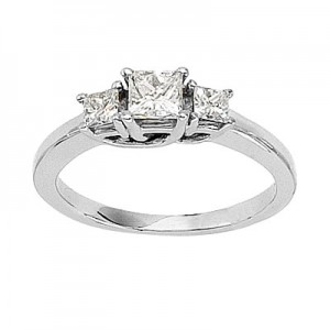 14K White Gold Trellis Three Stone 3/4 Ct Princess Diamond Ring