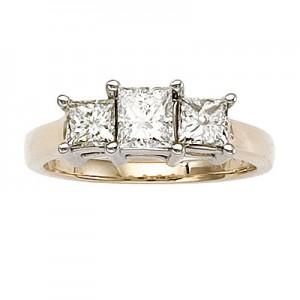 14K Yellow Gold Three Stone 1.5 Ct Princess Diamond Ring