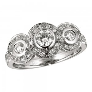14K White Gold .75 Ct Three Stone Fancy Diamond Ring