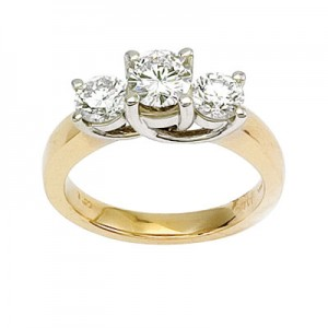 14K Yellow Gold Trellis Three Stone 1.5  Ct Round Diamond Ring