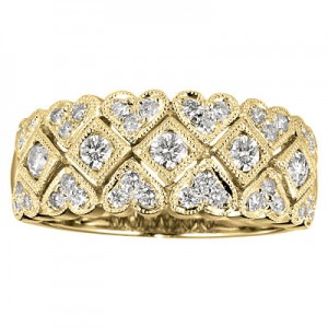 14K Yellow Gold .59 Ct Hearts and Diamonds Wide Band Fashion Ring
