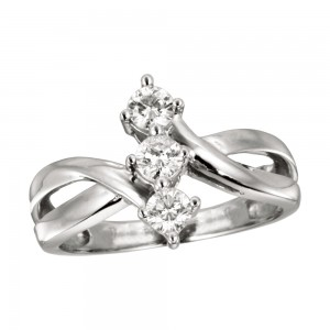 14K White Gold Vertical Three Stone .25 Ct Diamond Ring