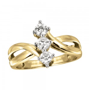 14K Yellow Gold Vertical Three Stone .50 Ct Diamond Ring