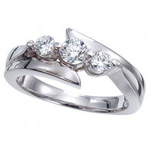14K White Gold Three Stone .50 Ct Bypass Diamond Ring