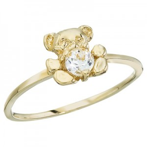 10K Yellow Gold Baby Teddy Bear and White Topaz Ring