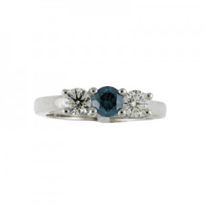 14K White Gold Three Stone 1 Ct Round White and Blue Diamond Ring