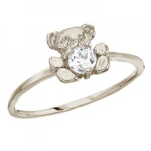 10K White Gold Baby Teddy Bear and White Topaz Ring