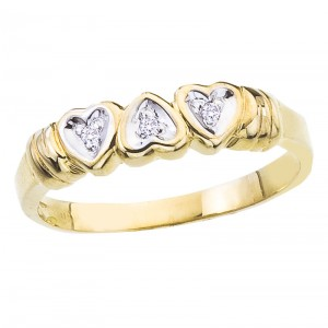 10K Yellow Gold and Diamond Three Heart Promise Ring Band