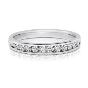 14K White Gold .50 Ct Channel Diamond Gents Band