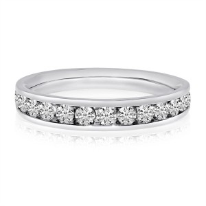 14K White Gold 1 Ct Channel Diamond Gents Band