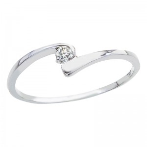 10K White Gold and Diamond Bypass Promise Ring