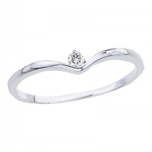 10K Yellow Gold .05 Ct V Style Single Diamond Promise Ring