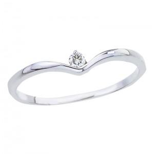 10K White Gold and Diamond V Shape Promise Ring