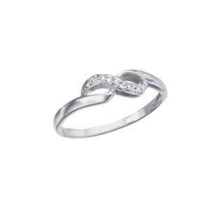 10K White Gold and Diamond Figure 8 Promise Ring