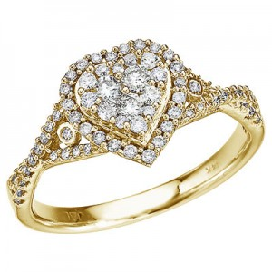 14K Yellow Gold .50 Ct Diamond Heart Ring