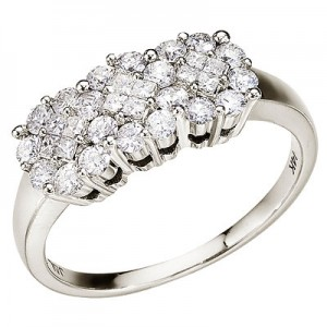 14K White Gold Diamond Clustaire Ring