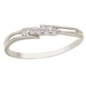10K White Gold Bypass Diamond Promise Ring