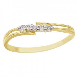 14K Yellow Gold and Diamond Bypass Promise Ring