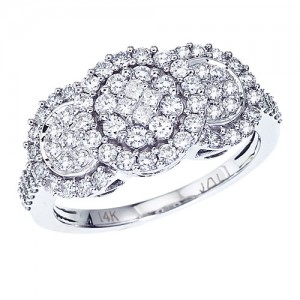 14K White Gold Three Stone 1 Ct Diamond Clustaire Ring