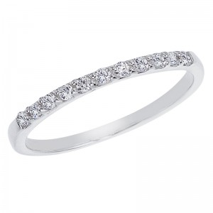 14K White Gold .17 Ct Eleven Stone Diamond Bridal Band
