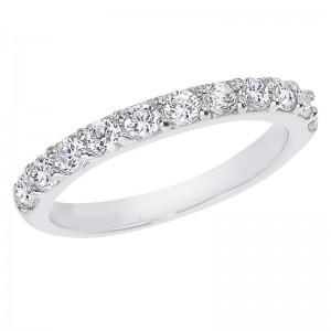 14K White Gold .77 Ct Eleven Stone Diamond Bridal Band