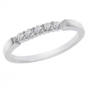 14K White Gold .25 Ct Five Stone Diamond Band