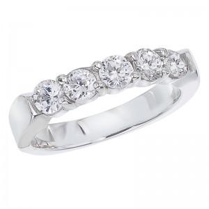 14K White Gold .75 Ct Five Stone Diamond Band