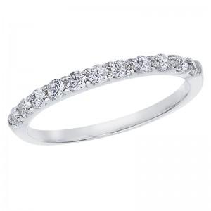 14K White Gold .33 Ct Eleven Stone Diamond Bridal Band