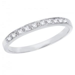 14K White Gold .07 Ct Ten Stone Diamond Bridal Band